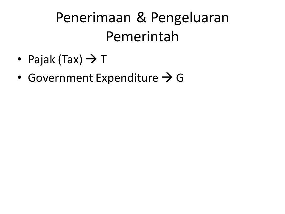 Penerimaan & Pengeluaran Pemerintah Pajak (Tax)  T Government Expenditure  G