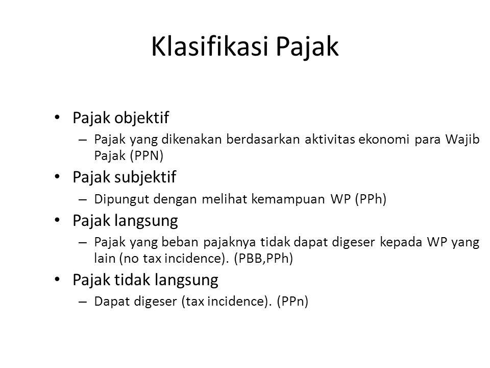 Klasifikasi Pajak Pajak objektif – Pajak yang dikenakan berdasarkan aktivitas ekonomi para Wajib Pajak (PPN) Pajak subjektif – Dipungut dengan melihat