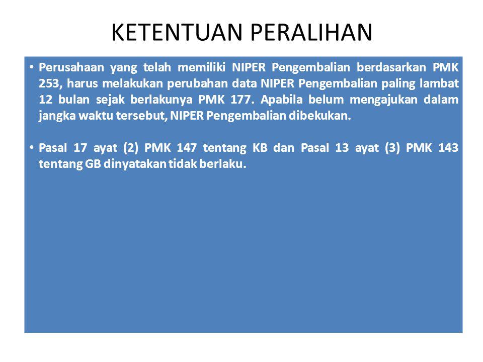KETENTUAN PERALIHAN Perusahaan yang telah memiliki NIPER Pengembalian berdasarkan PMK 253, harus melakukan perubahan data NIPER Pengembalian paling lambat 12 bulan sejak berlakunya PMK 177.