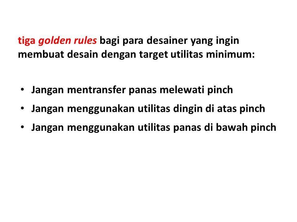 tiga golden rules bagi para desainer yang ingin membuat desain dengan target utilitas minimum: Jangan mentransfer panas melewati pinch Jangan menggunakan utilitas dingin di atas pinch Jangan menggunakan utilitas panas di bawah pinch