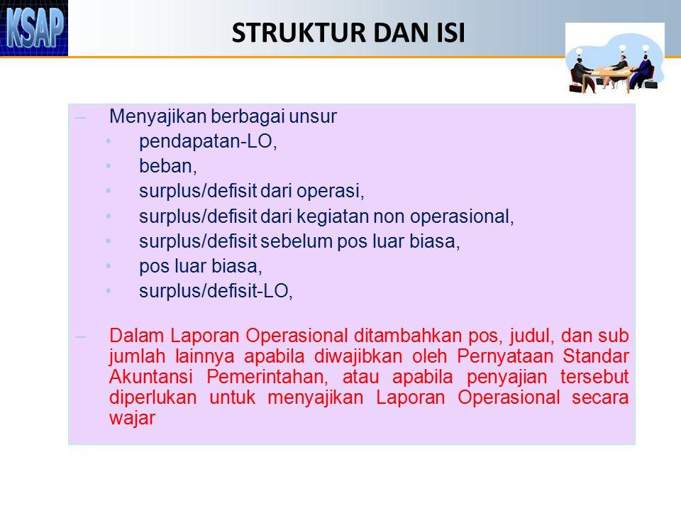 STRUKTUR DAN ISI –Menyajikan berbagai unsur pendapatan-LO, beban, surplus/defisit dari operasi, surplus/defisit dari kegiatan non operasional, surplus