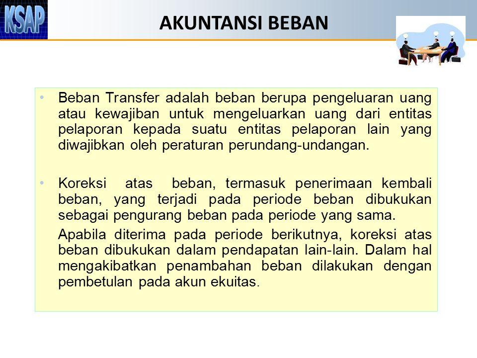 AKUNTANSI BEBAN Beban Transfer adalah beban berupa pengeluaran uang atau kewajiban untuk mengeluarkan uang dari entitas pelaporan kepada suatu entitas