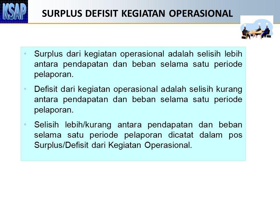 SURPLUS DEFISIT KEGIATAN OPERASIONAL Surplus dari kegiatan operasional adalah selisih lebih antara pendapatan dan beban selama satu periode pelaporan.