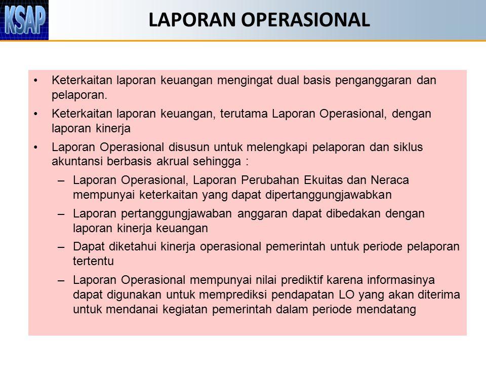 LAPORAN OPERASIONAL Keterkaitan laporan keuangan mengingat dual basis penganggaran dan pelaporan. Keterkaitan laporan keuangan, terutama Laporan Opera