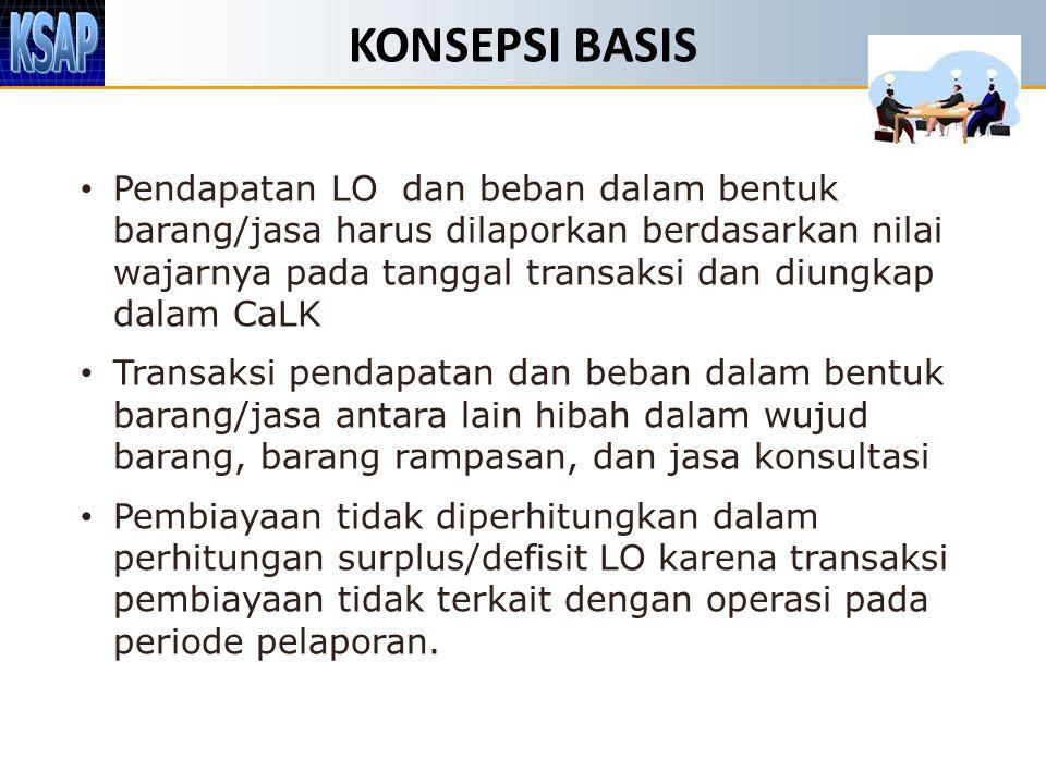 KONSEPSI BASIS Pendapatan LO dan beban dalam bentuk barang/jasa harus dilaporkan berdasarkan nilai wajarnya pada tanggal transaksi dan diungkap dalam
