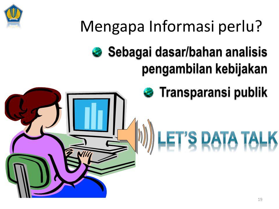 Sebagai dasar/bahan analisis pengambilan kebijakan Transparansi publik Sebagai dasar/bahan analisis pengambilan kebijakan Transparansi publik Mengapa