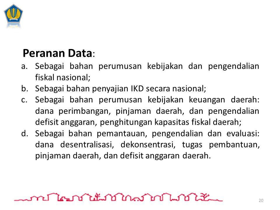 IKD disampaikan kepada: Peranan Data : a.Sebagai bahan perumusan kebijakan dan pengendalian fiskal nasional; b.Sebagai bahan penyajian IKD secara nasi