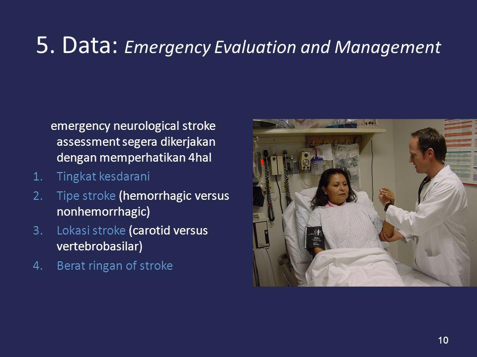 10 5. Data: Emergency Evaluation and Management emergency neurological stroke assessment segera dikerjakan dengan memperhatikan 4hal 1.Tingkat kesdara
