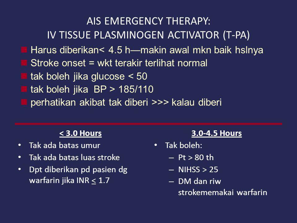 AIS EMERGENCY THERAPY: IV TISSUE PLASMINOGEN ACTIVATOR (T-PA) < 3.0 Hours Tak ada batas umur Tak ada batas luas stroke Dpt diberikan pd pasien dg warf