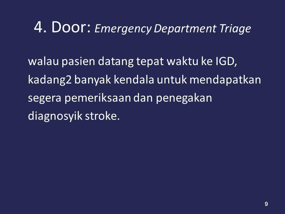 9 4. Door: Emergency Department Triage walau pasien datang tepat waktu ke IGD, kadang2 banyak kendala untuk mendapatkan segera pemeriksaan dan penegak