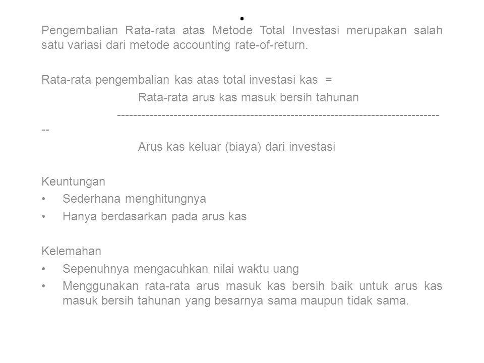. Pengembalian Rata-rata atas Metode Total Investasi merupakan salah satu variasi dari metode accounting rate-of-return. Rata-rata pengembalian kas at