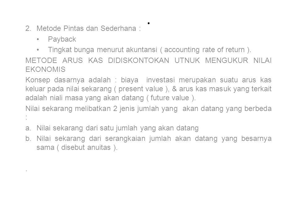. 2.Metode Pintas dan Sederhana : Payback Tingkat bunga menurut akuntansi ( accounting rate of return ). METODE ARUS KAS DIDISKONTOKAN UTNUK MENGUKUR