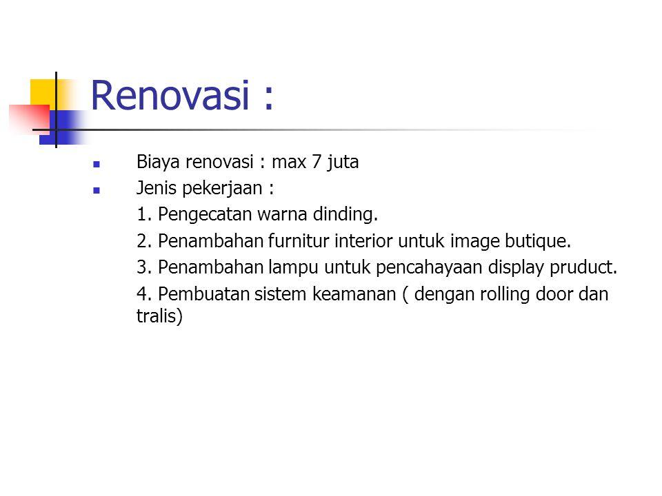 Renovasi : Biaya renovasi : max 7 juta Jenis pekerjaan : 1.