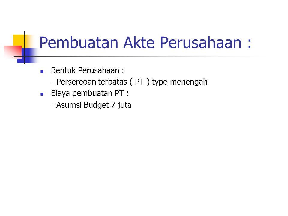 Pembuatan Akte Perusahaan : Bentuk Perusahaan : - Persereoan terbatas ( PT ) type menengah Biaya pembuatan PT : - Asumsi Budget 7 juta