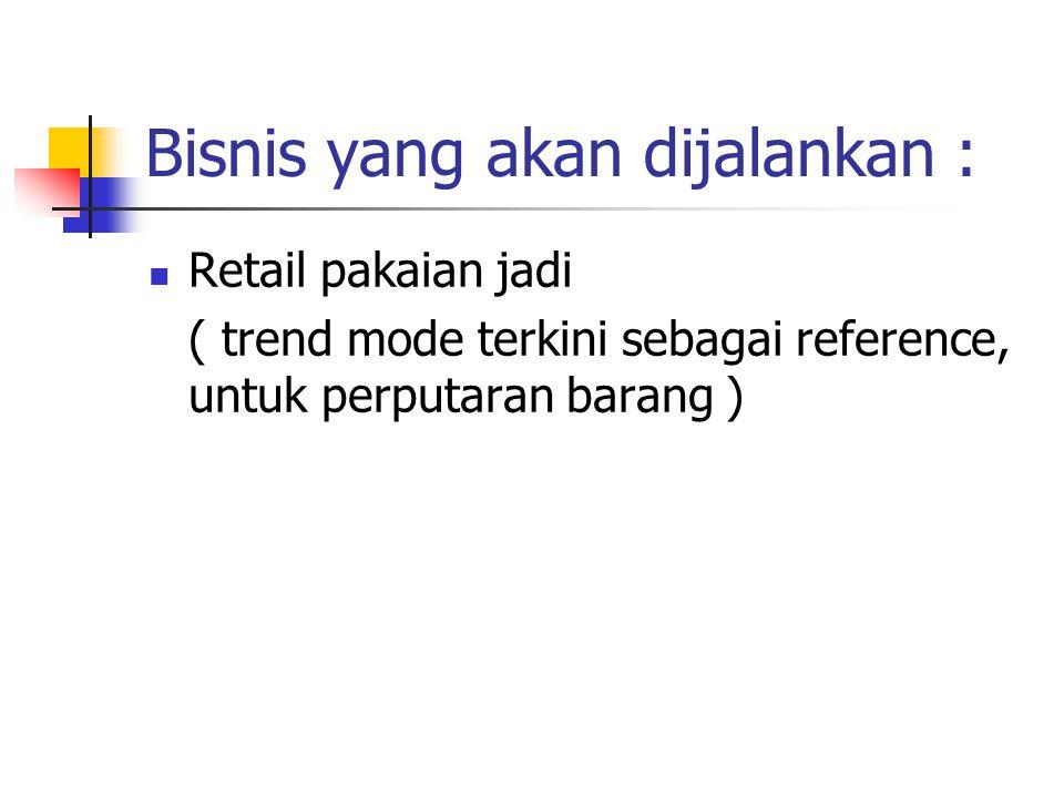 Bisnis yang akan dijalankan : Retail pakaian jadi ( trend mode terkini sebagai reference, untuk perputaran barang )