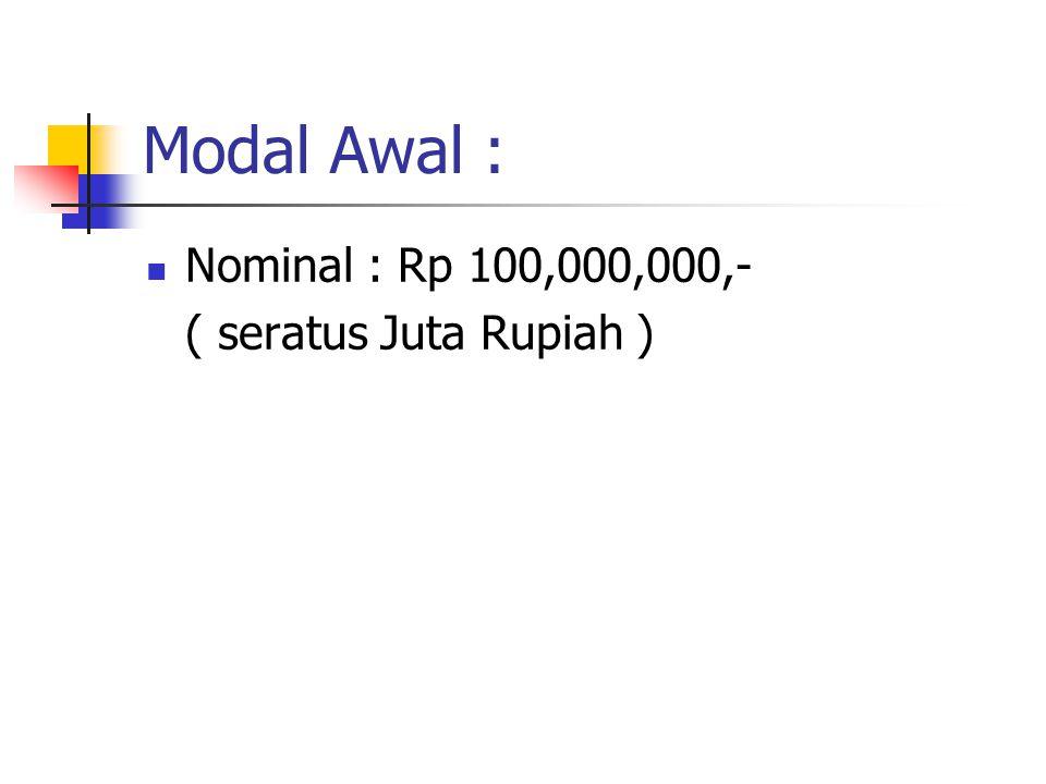 Modal Awal : Nominal : Rp 100,000,000,- ( seratus Juta Rupiah )