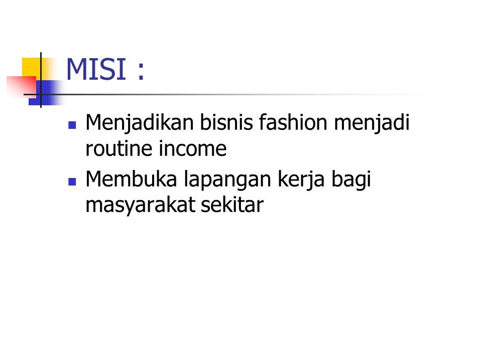 MISI : Menjadikan bisnis fashion menjadi routine income Membuka lapangan kerja bagi masyarakat sekitar