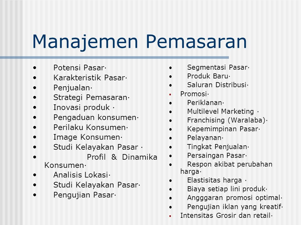 Manajemen Pemasaran  Potensi Pasar·  Karakteristik Pasar·  Penjualan·  Strategi Pemasaran·  Inovasi produk ·  Pengaduan konsumen·  Perilaku Kon