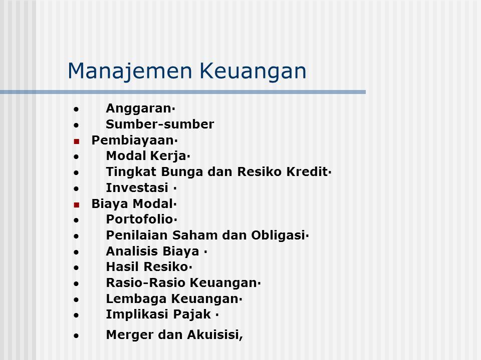 Manajemen Keuangan  Anggaran·  Sumber-sumber Pembiayaan·  Modal Kerja·  Tingkat Bunga dan Resiko Kredit·  Investasi · Biaya Modal·  Portofolio·