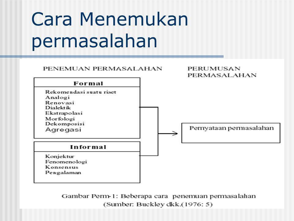 Cara-cara Formal Penemuan Permasalahan 1) Rekomendasi suatu riset.