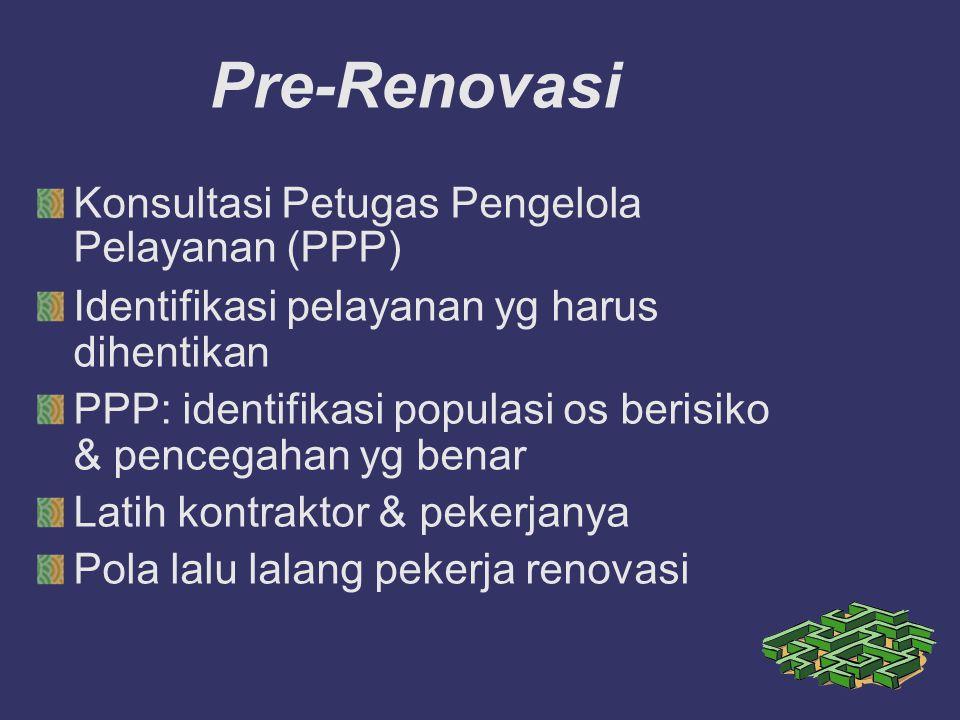 Pre-Renovasi Konsultasi Petugas Pengelola Pelayanan (PPP) Identifikasi pelayanan yg harus dihentikan PPP: identifikasi populasi os berisiko & pencega
