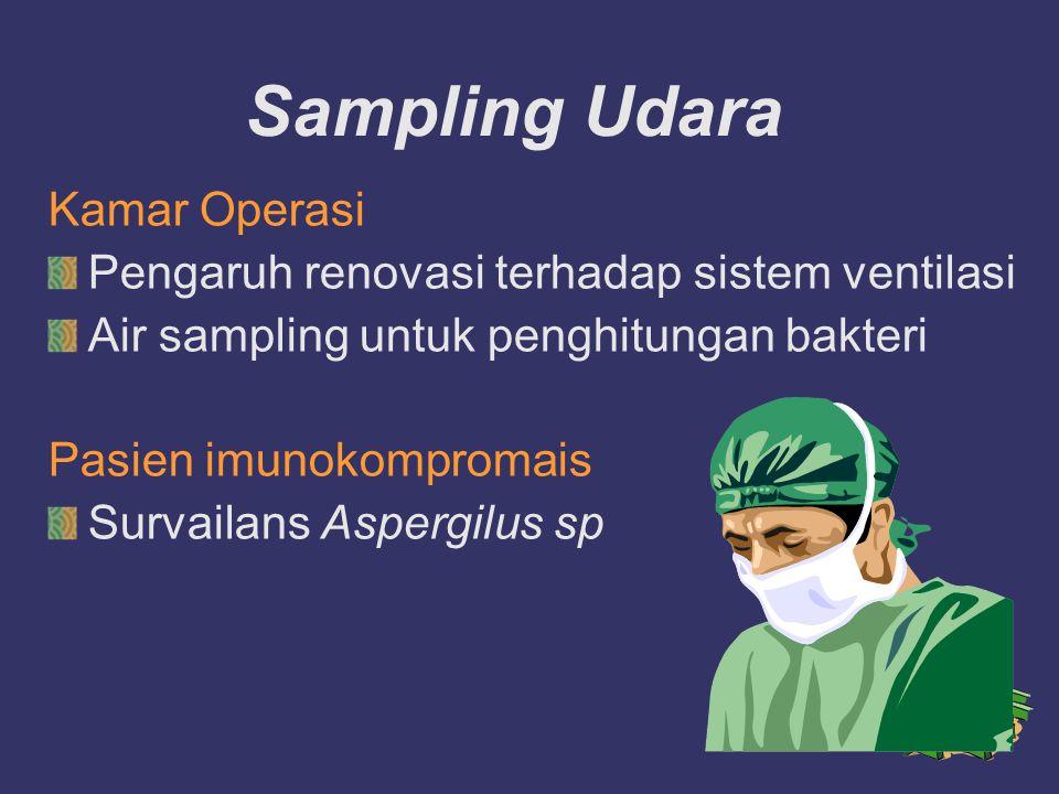 Sampling Udara Kamar Operasi Pengaruh renovasi terhadap sistem ventilasi Air sampling untuk penghitungan bakteri Pasien imunokompromais Survailans Asp
