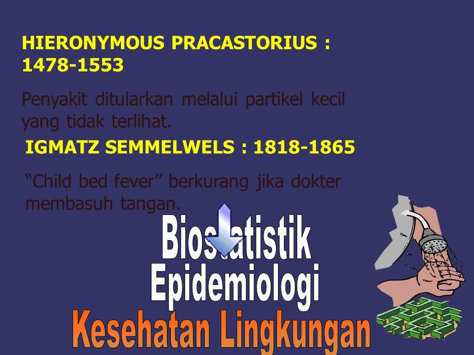 "HIERONYMOUS PRACASTORIUS : 1478-1553 Penyakit ditularkan melalui partikel kecil yang tidak terlihat. IGMATZ SEMMELWELS : 1818-1865 ""Child bed fever"" b"