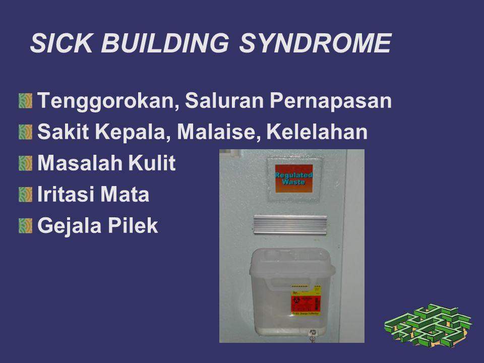 SICK BUILDING SYNDROME Tenggorokan, Saluran Pernapasan Sakit Kepala, Malaise, Kelelahan Masalah Kulit Iritasi Mata Gejala Pilek