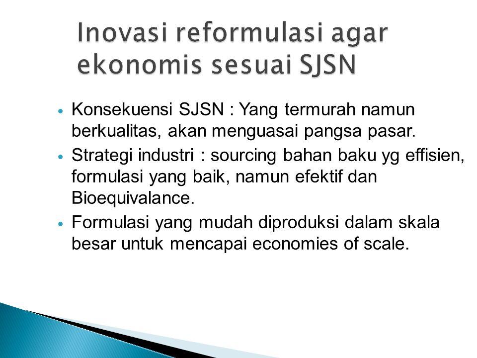 Konsekuensi SJSN : Yang termurah namun berkualitas, akan menguasai pangsa pasar. Strategi industri : sourcing bahan baku yg effisien, formulasi yang b