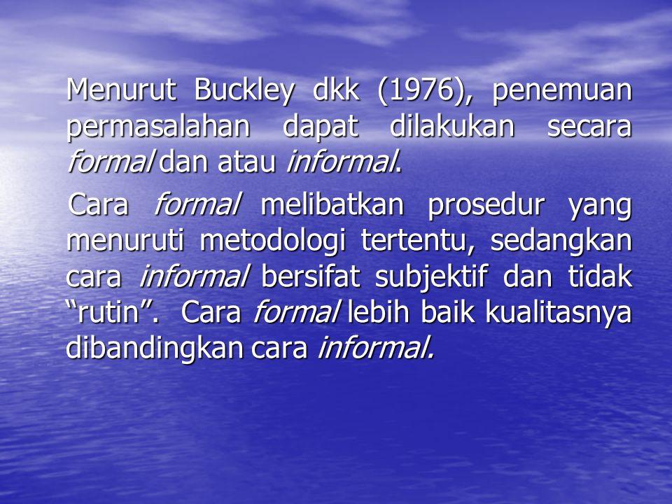 Menurut Buckley dkk (1976), penemuan permasalahan dapat dilakukan secara formal dan atau informal. Cara formal melibatkan prosedur yang menuruti metod
