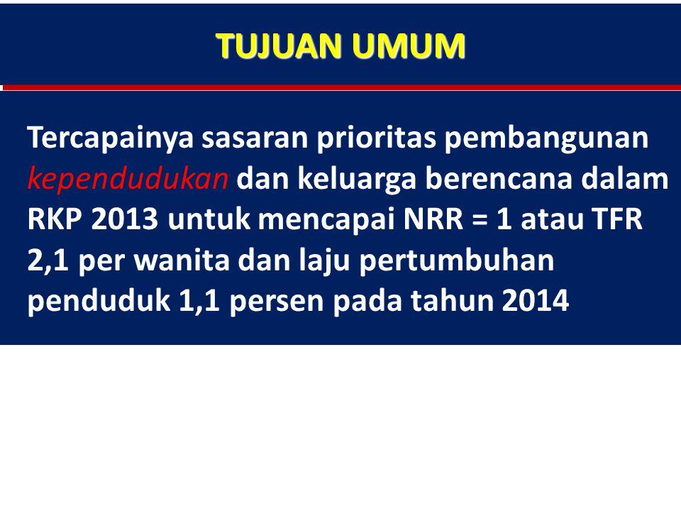 TUJUAN UMUM Tercapainya sasaran prioritas pembangunan kependudukan dan keluarga berencana dalam RKP 2013 untuk mencapai NRR = 1 atau TFR 2,1 per wanita dan laju pertumbuhan penduduk 1,1 persen pada tahun 2014