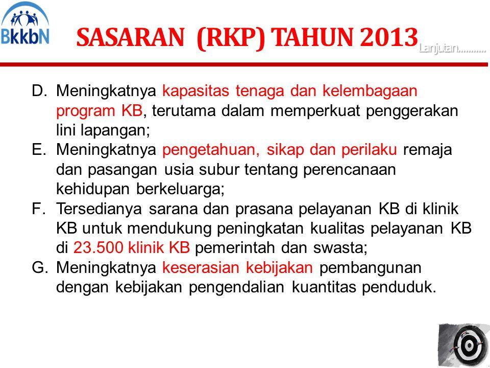 SASARAN (RKP) TAHUN 2013 ( Lanjutan...........) Guna mendukung pencapaian sasaran RKP 2013 tersebut, program prioritas Dana Alokasi Khusus Bidang Keluarga Berencana Tahun 2013 (DAK KB 2013) adalah: 1.Peningkatkan mobilitas dan kapasitas tenaga PKB/PLKB dan PPLKB dalam pembinaan dan penyuluhan KB; 2.Peningkatan akses dan kualitas pelayanan KB, terutama bagi keluarga Pra Sejahtera dan Keluarga Sejahtera I (keluarga miskin); 3.Intensifikasi Advokasi dan KIE; 4.Peningkatan sarana pengasuhan dan pembinaan tumbuh kembang anak; 5.Pembangunan/renovasi Gudang Alokon; 6.Pembangunan Balai Penyuluhan Program Kependudukan dan KB tingkat Kecamatan yang sekaligus sebagai Kantor Para Petugas Lapangan KB; 7.Melengkapi sarana pengolahan data dan informasi berupa personal komputer.