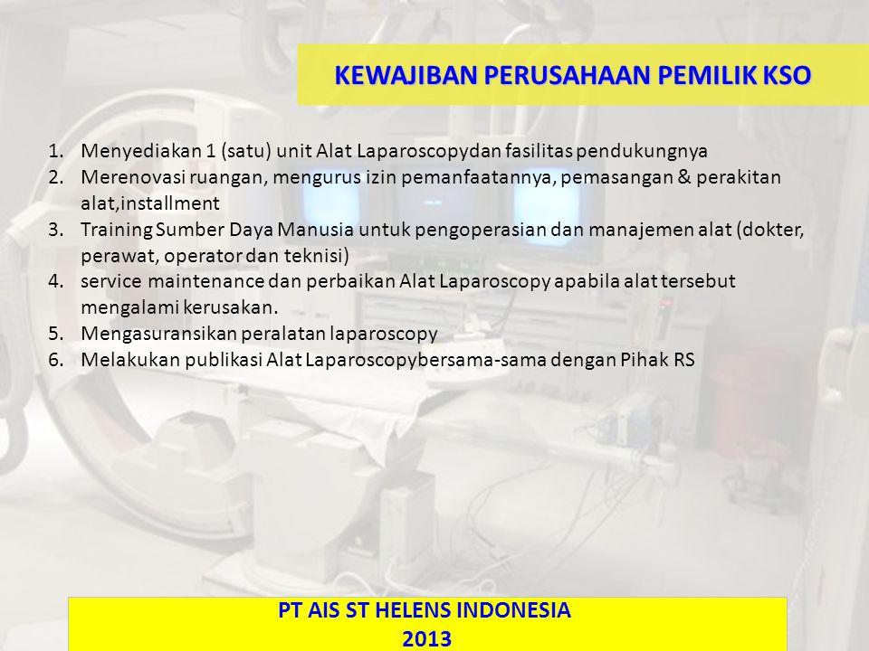 KEWAJIBAN PERUSAHAAN PEMILIK KSO 1.Menyediakan 1 (satu) unit Alat Laparoscopydan fasilitas pendukungnya 2.Merenovasi ruangan, mengurus izin pemanfaatannya, pemasangan & perakitan alat,installment 3.Training Sumber Daya Manusia untuk pengoperasian dan manajemen alat (dokter, perawat, operator dan teknisi) 4.service maintenance dan perbaikan Alat Laparoscopy apabila alat tersebut mengalami kerusakan.