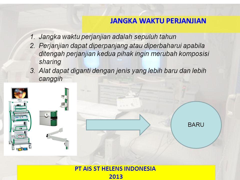 1.Jangka waktu perjanjian adalah sepuluh tahun 2.Perjanjian dapat diperpanjang atau diperbaharui apabila ditengah perjanjian kedua pihak ingin merubah komposisi sharing 3.Alat dapat diganti dengan jenis yang lebih baru dan lebih canggih JANGKA WAKTU PERJANJIAN PT AIS ST HELENS INDONESIA 2013 BARU