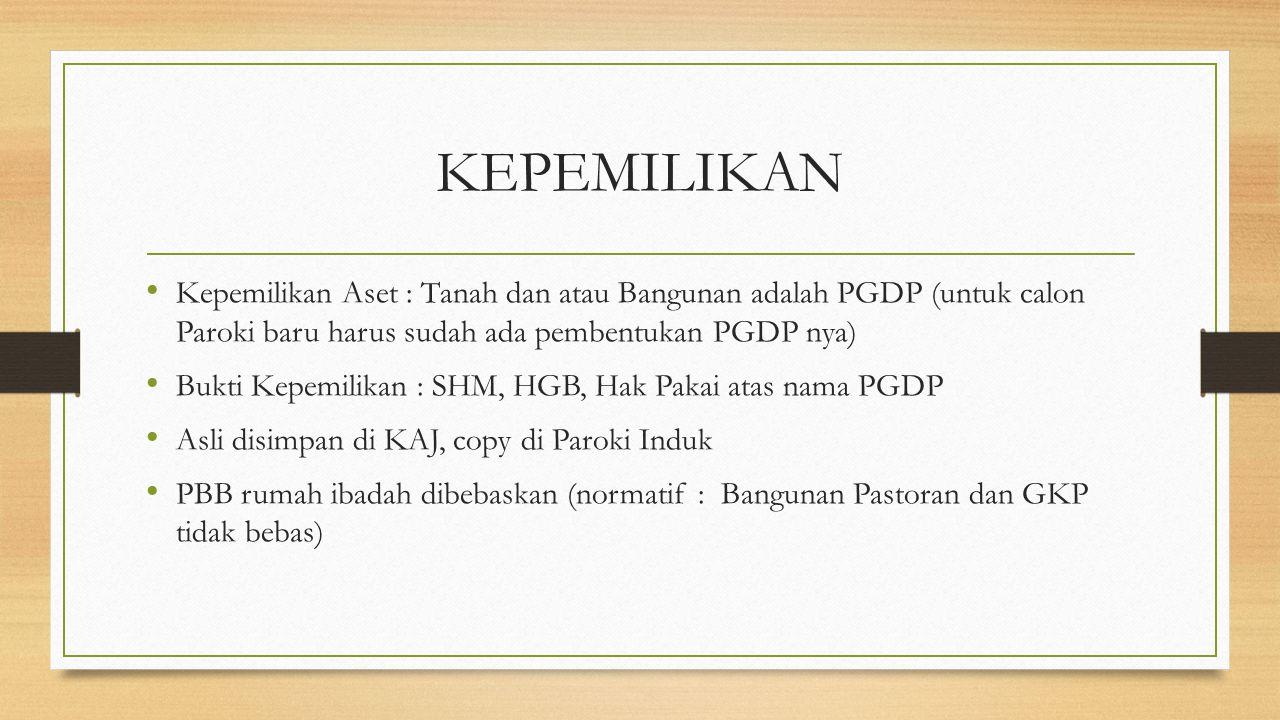 KEPEMILIKAN Kepemilikan Aset : Tanah dan atau Bangunan adalah PGDP (untuk calon Paroki baru harus sudah ada pembentukan PGDP nya) Bukti Kepemilikan :
