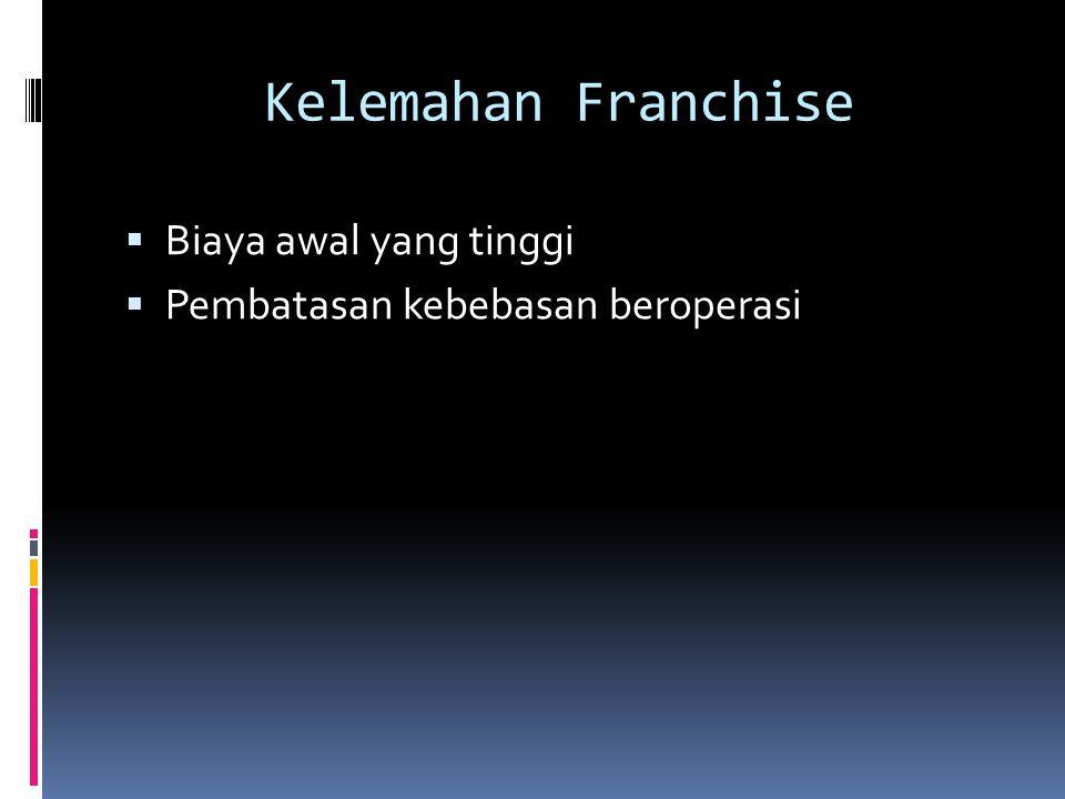 Contoh Perusahaan Franchise  Brand Fee = 50jt per 1 cabang per 1 lokasi  Belum termasuk sewa lokasi, biaya renovasi, interior, peralatan, dsb.