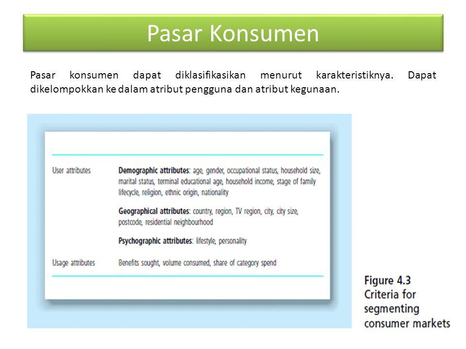 Pasar Konsumen Pasar konsumen dapat diklasifikasikan menurut karakteristiknya. Dapat dikelompokkan ke dalam atribut pengguna dan atribut kegunaan.