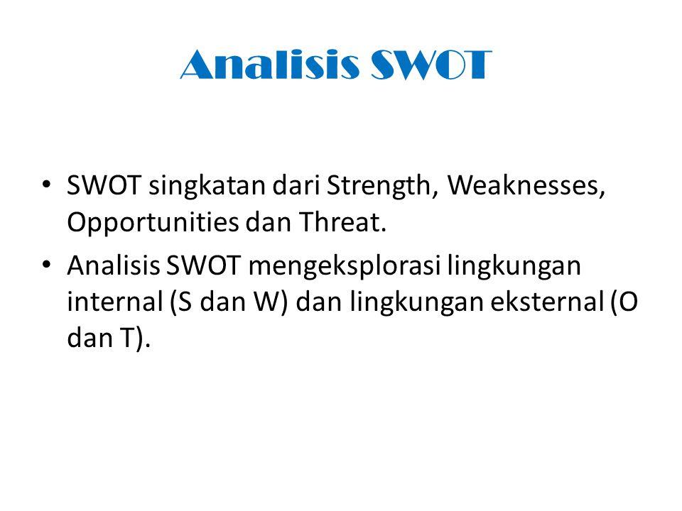 Analisis SWOT SWOT singkatan dari Strength, Weaknesses, Opportunities dan Threat. Analisis SWOT mengeksplorasi lingkungan internal (S dan W) dan lingk