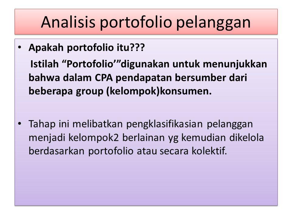 """Analisis portofolio pelanggan Apakah portofolio itu??? Istilah """"Portofolio'""""digunakan untuk menunjukkan bahwa dalam CPA pendapatan bersumber dari bebe"""