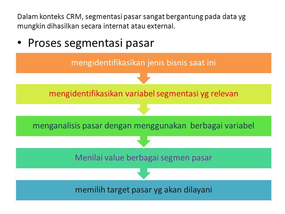 Dalam konteks CRM, segmentasi pasar sangat bergantung pada data yg mungkin dihasilkan secara internat atau external. Proses segmentasi pasar memilih t