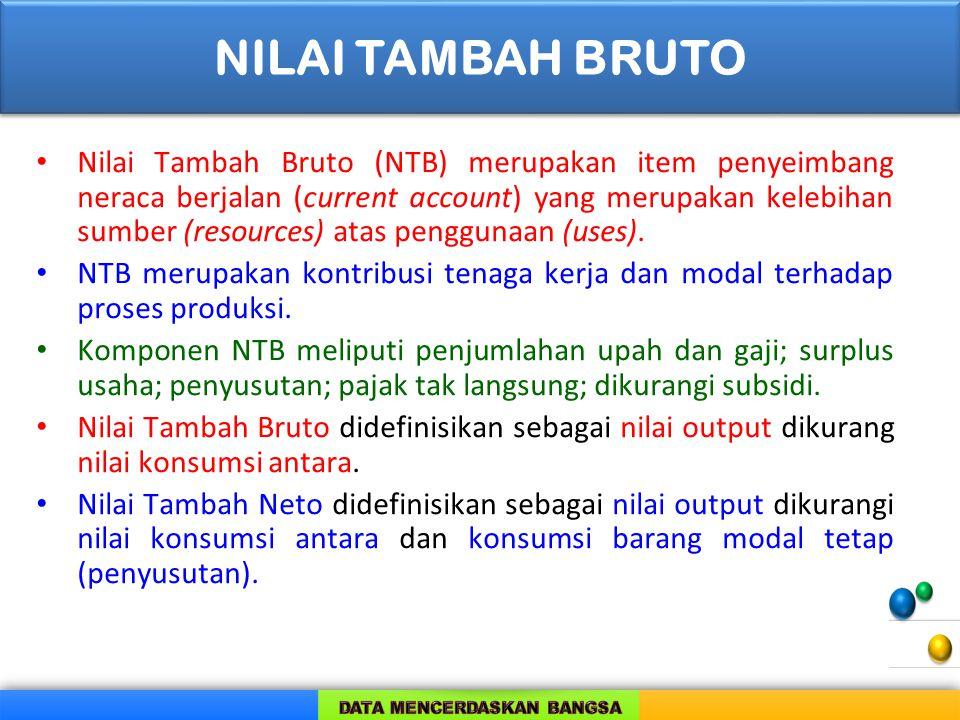 Nilai Tambah Bruto (NTB) merupakan item penyeimbang neraca berjalan (current account) yang merupakan kelebihan sumber (resources) atas penggunaan (use
