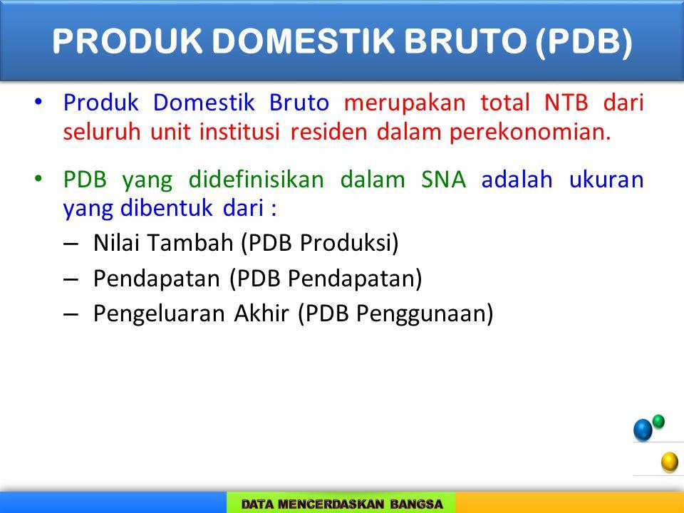 Produk Domestik Bruto merupakan total NTB dari seluruh unit institusi residen dalam perekonomian. PDB yang didefinisikan dalam SNA adalah ukuran yang