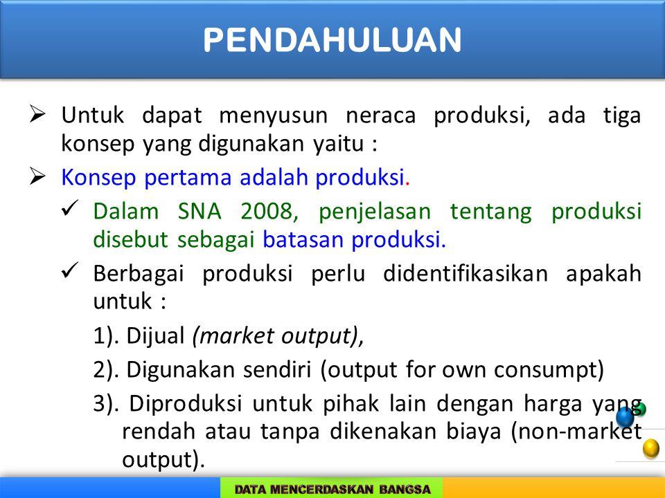  Untuk dapat menyusun neraca produksi, ada tiga konsep yang digunakan yaitu :  Konsep pertama adalah produksi. Dalam SNA 2008, penjelasan tentang pr