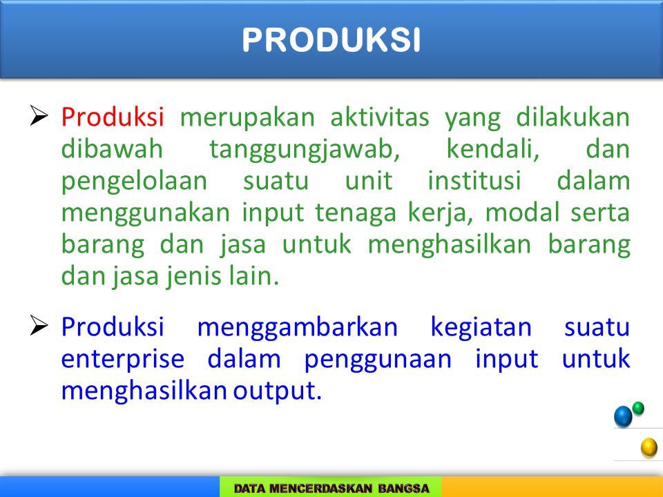  Produksi merupakan aktivitas yang dilakukan dibawah tanggungjawab, kendali, dan pengelolaan suatu unit institusi dalam menggunakan input tenaga kerj