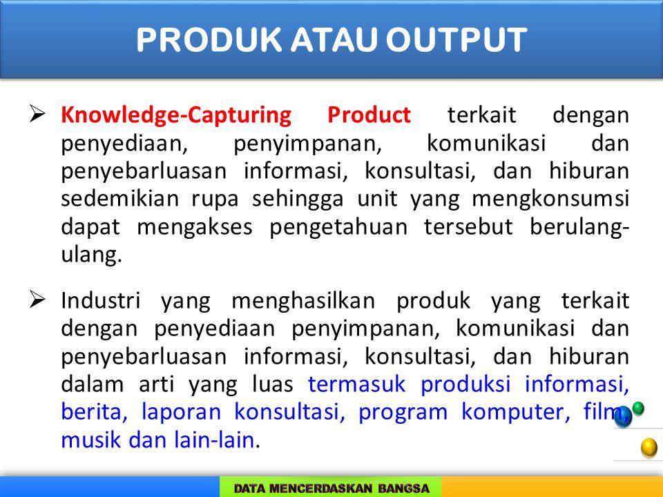  Knowledge-Capturing Product terkait dengan penyediaan, penyimpanan, komunikasi dan penyebarluasan informasi, konsultasi, dan hiburan sedemikian rupa