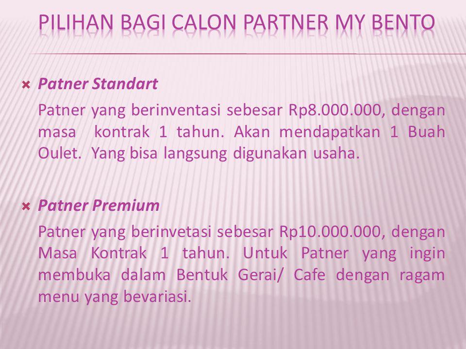  Patner Standart Patner yang berinventasi sebesar Rp8.000.000, dengan masa kontrak 1 tahun.