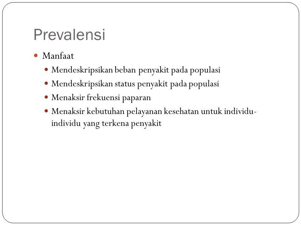 Prevalensi Manfaat Mendeskripsikan beban penyakit pada populasi Mendeskripsikan status penyakit pada populasi Menaksir frekuensi paparan Menaksir kebu