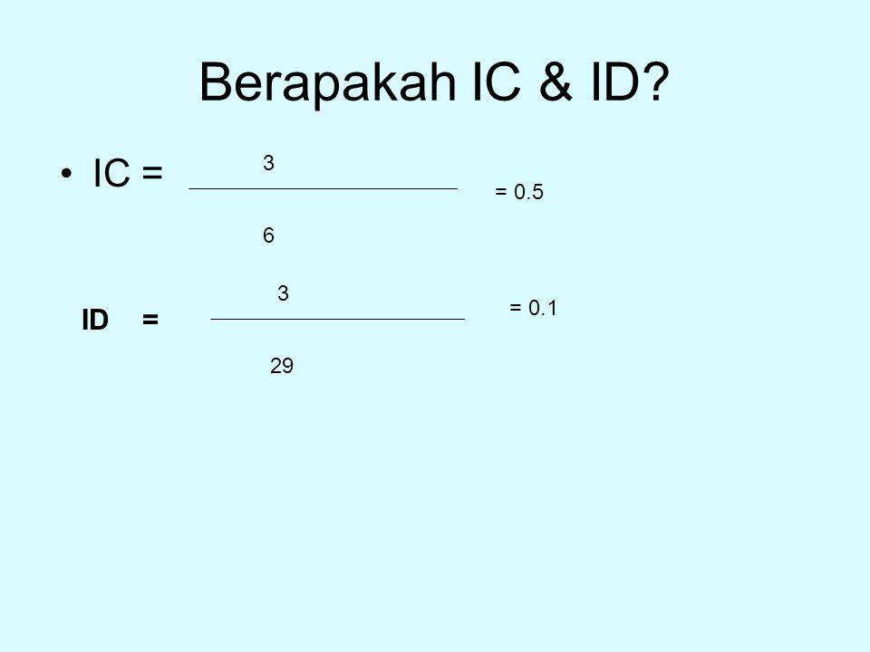 Berapakah IC & ID? IC = 3 6 ID = 3 29 = 0.5 = 0.1