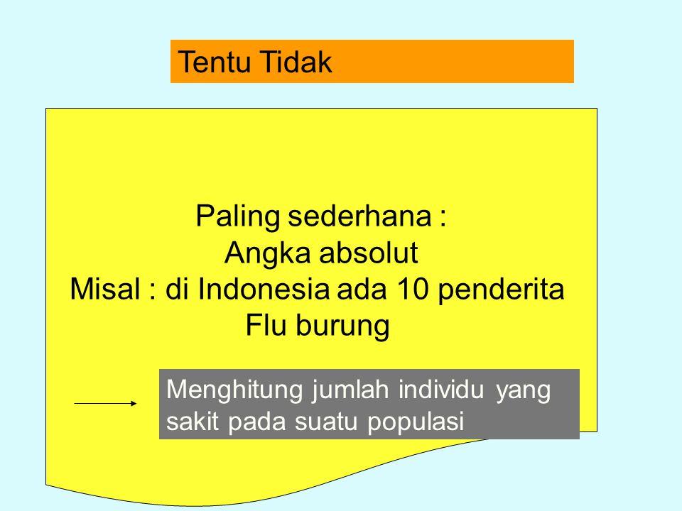 Tentu Tidak Paling sederhana : Angka absolut Misal : di Indonesia ada 10 penderita Flu burung Menghitung jumlah individu yang sakit pada suatu populas