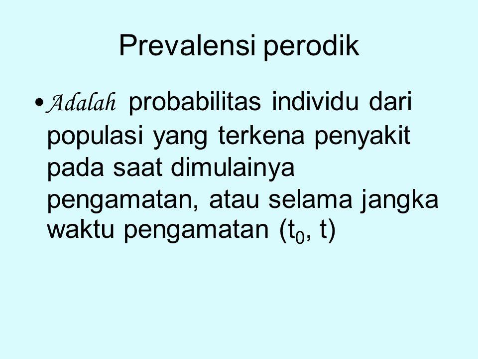 Prevalensi perodik Adalah probabilitas individu dari populasi yang terkena penyakit pada saat dimulainya pengamatan, atau selama jangka waktu pengamat